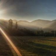 Východ slunce na cestě do Pamplony