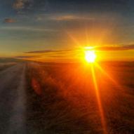Východ slunce kousek za Los Arcos