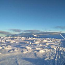 Výhled ze Stříbrného hřbetu (cca 1460 m.n.m.) na Sněžku v odpoledním slunci.